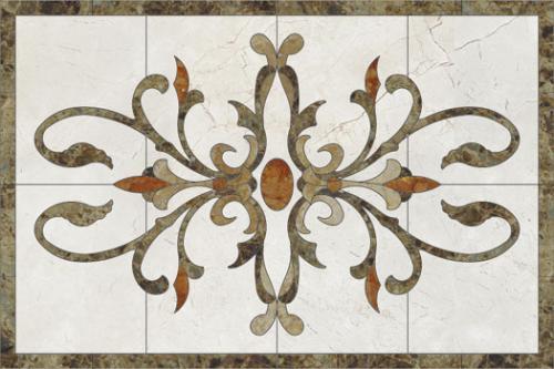 medalion marmura 6 floral-dreptunghiular